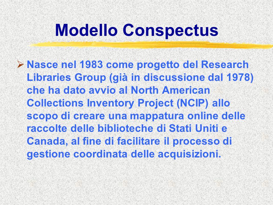 Modello Conspectus  Nasce nel 1983 come progetto del Research Libraries Group (già in discussione dal 1978) che ha dato avvio al North American Colle