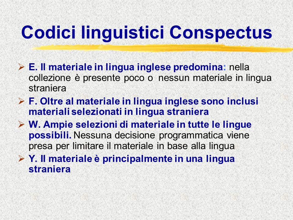 Codici linguistici Conspectus  E.