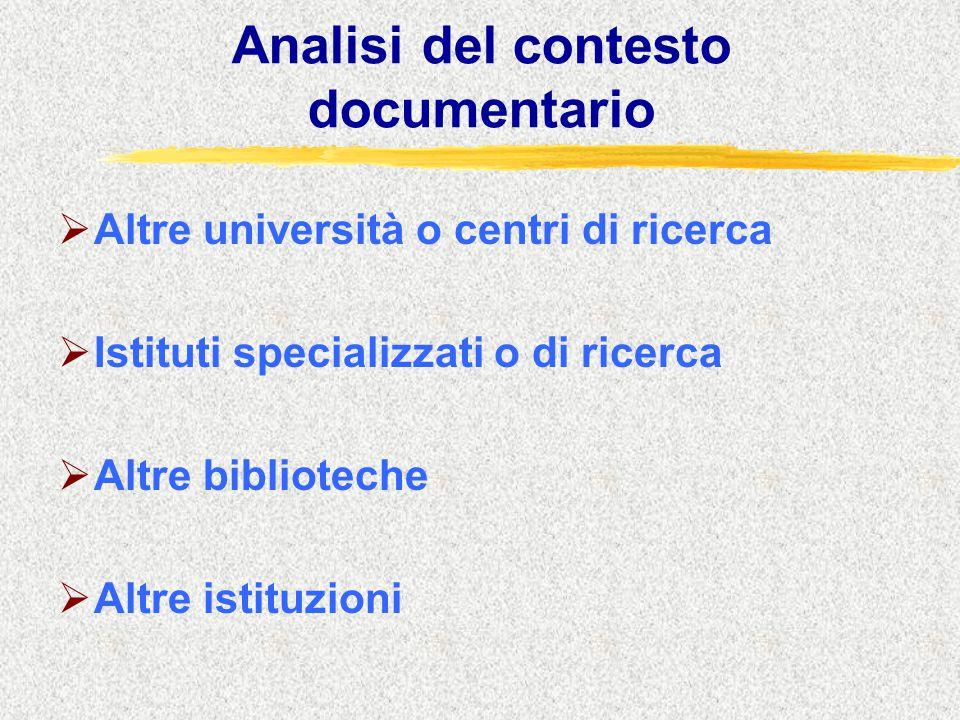 Analisi del contesto documentario  Altre università o centri di ricerca  Istituti specializzati o di ricerca  Altre biblioteche  Altre istituzioni
