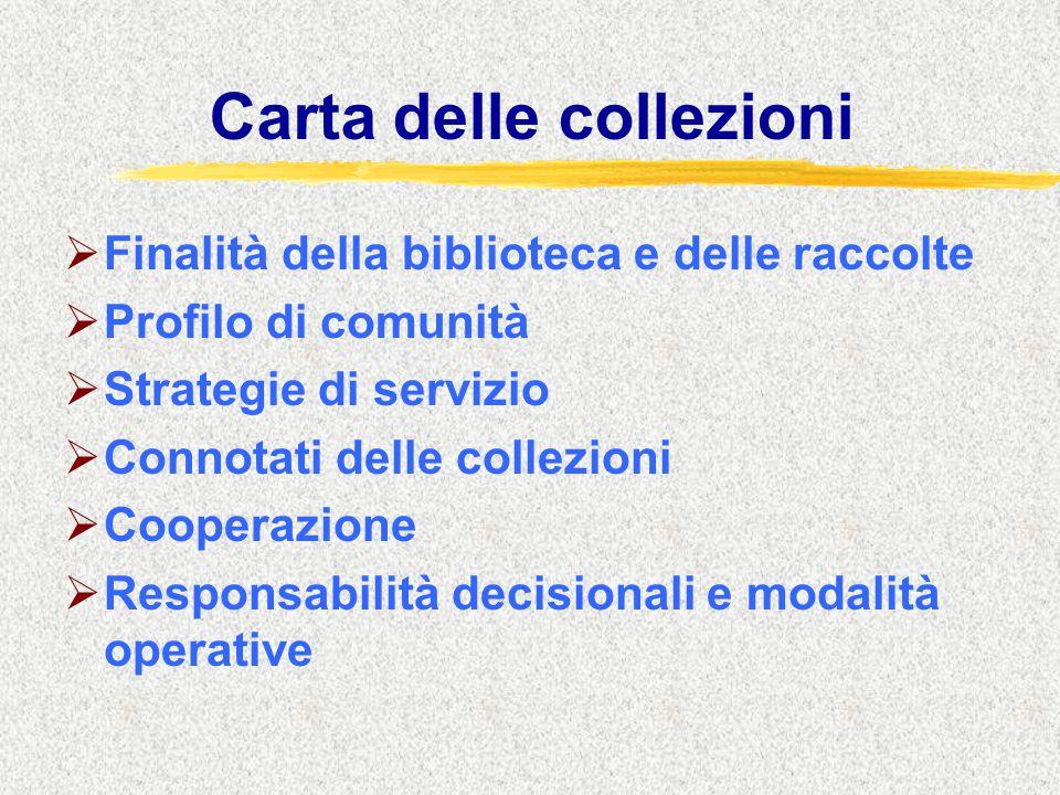 Carta delle collezioni  Finalità della biblioteca e delle raccolte  Profilo di comunità  Strategie di servizio  Connotati delle collezioni  Cooperazione  Responsabilità decisionali e modalità operative