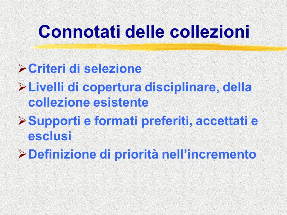 Connotati delle collezioni  Criteri di selezione  Livelli di copertura disciplinare, della collezione esistente  Supporti e formati preferiti, accettati e esclusi  Definizione di priorità nell'incremento