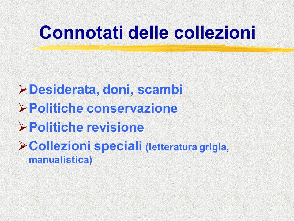 Connotati delle collezioni  Desiderata, doni, scambi  Politiche conservazione  Politiche revisione  Collezioni speciali (letteratura grigia, manualistica)
