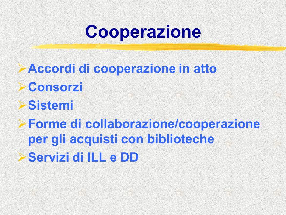 Cooperazione  Accordi di cooperazione in atto  Consorzi  Sistemi  Forme di collaborazione/cooperazione per gli acquisti con biblioteche  Servizi di ILL e DD