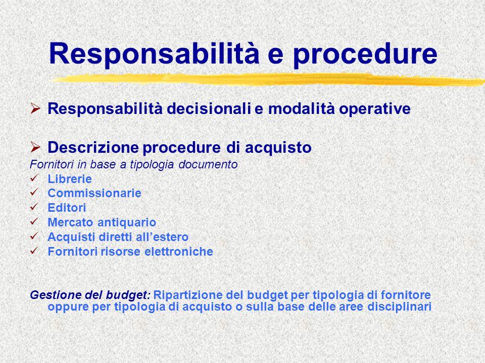 Responsabilità e procedure  Responsabilità decisionali e modalità operative  Descrizione procedure di acquisto Fornitori in base a tipologia documen