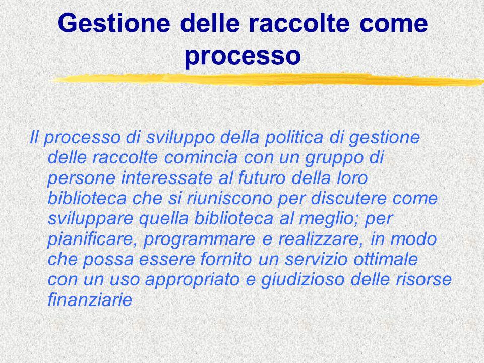 Gestione delle raccolte come processo Il processo di sviluppo della politica di gestione delle raccolte comincia con un gruppo di persone interessate