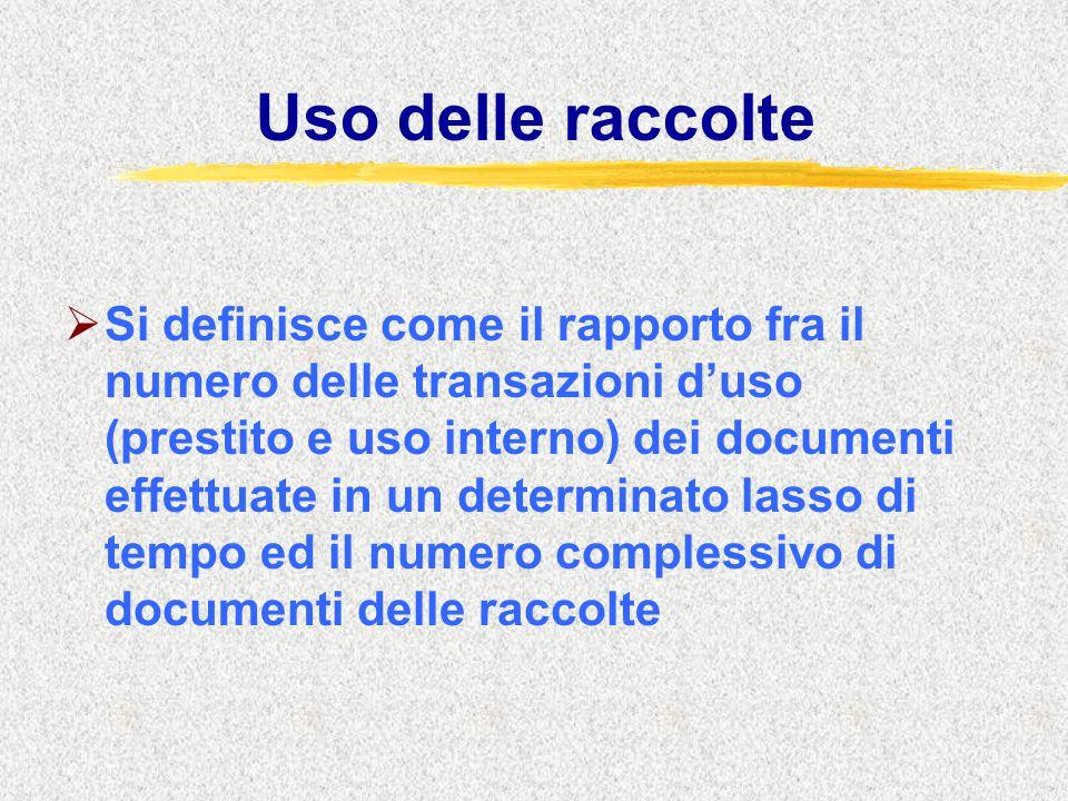 Uso delle raccolte  Si definisce come il rapporto fra il numero delle transazioni d'uso (prestito e uso interno) dei documenti effettuate in un determinato lasso di tempo ed il numero complessivo di documenti delle raccolte
