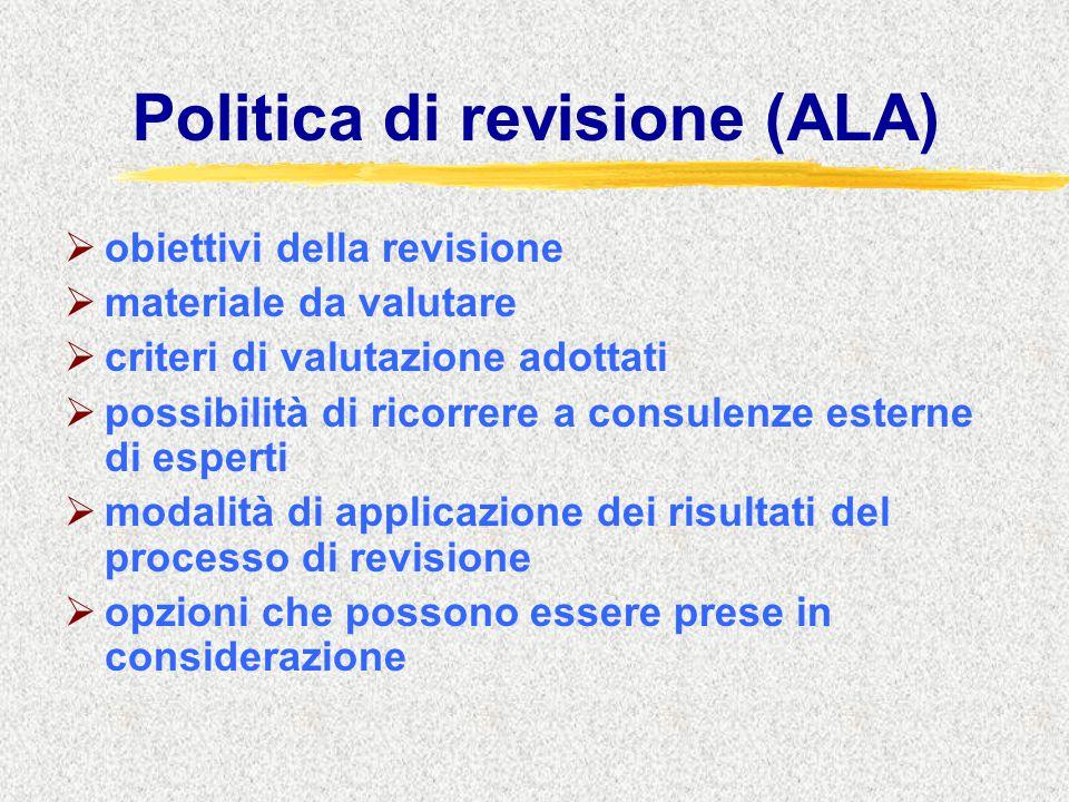 Politica di revisione (ALA)  obiettivi della revisione  materiale da valutare  criteri di valutazione adottati  possibilità di ricorrere a consule
