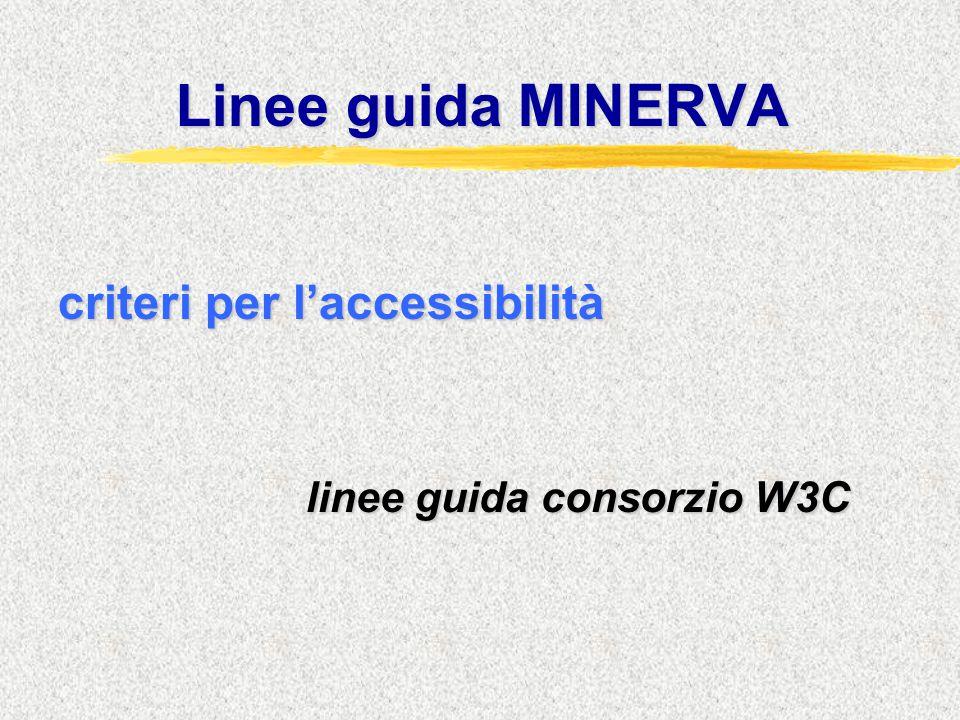 Linee guida MINERVA criteri per l'accessibilità linee guida consorzio W3C linee guida consorzio W3C