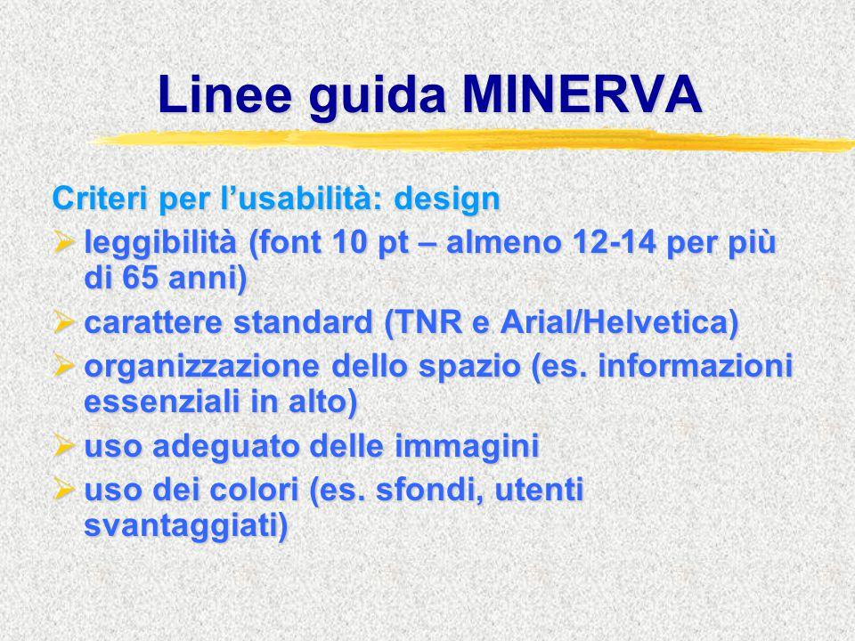 Linee guida MINERVA Criteri per l'usabilità: design  leggibilità (font 10 pt – almeno 12-14 per più di 65 anni)  carattere standard (TNR e Arial/Helvetica)  organizzazione dello spazio (es.