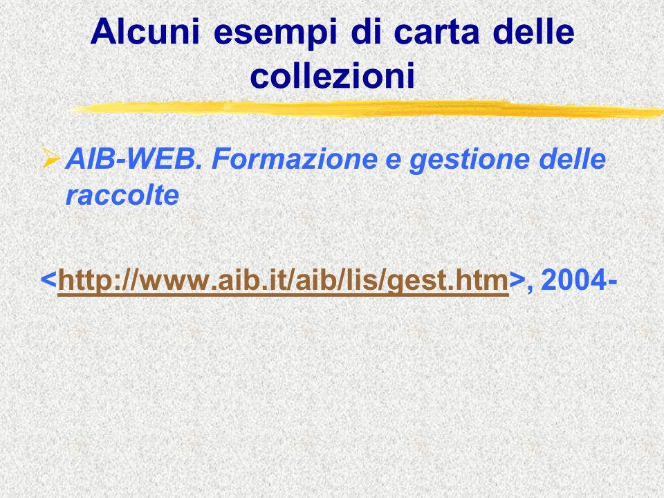 Alcuni esempi di carta delle collezioni  AIB-WEB. Formazione e gestione delle raccolte, 2004-http://www.aib.it/aib/lis/gest.htm