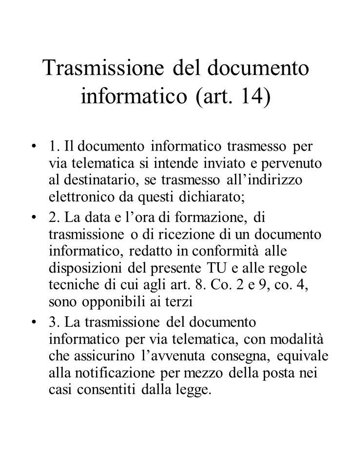 Trasmissione del documento informatico (art.14) 1.