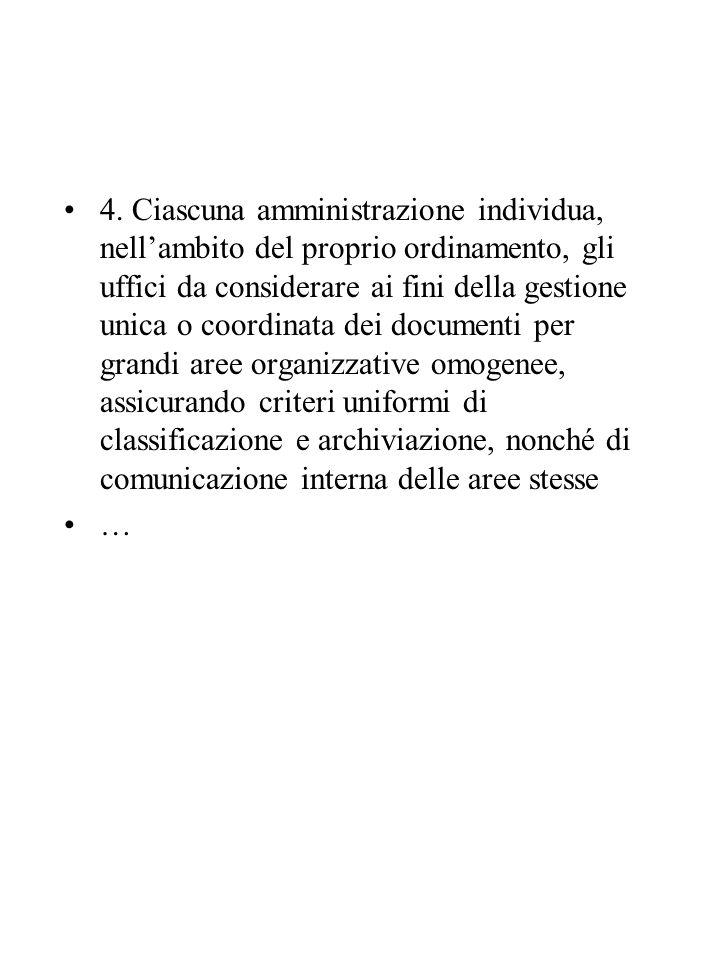 4. Ciascuna amministrazione individua, nell'ambito del proprio ordinamento, gli uffici da considerare ai fini della gestione unica o coordinata dei do