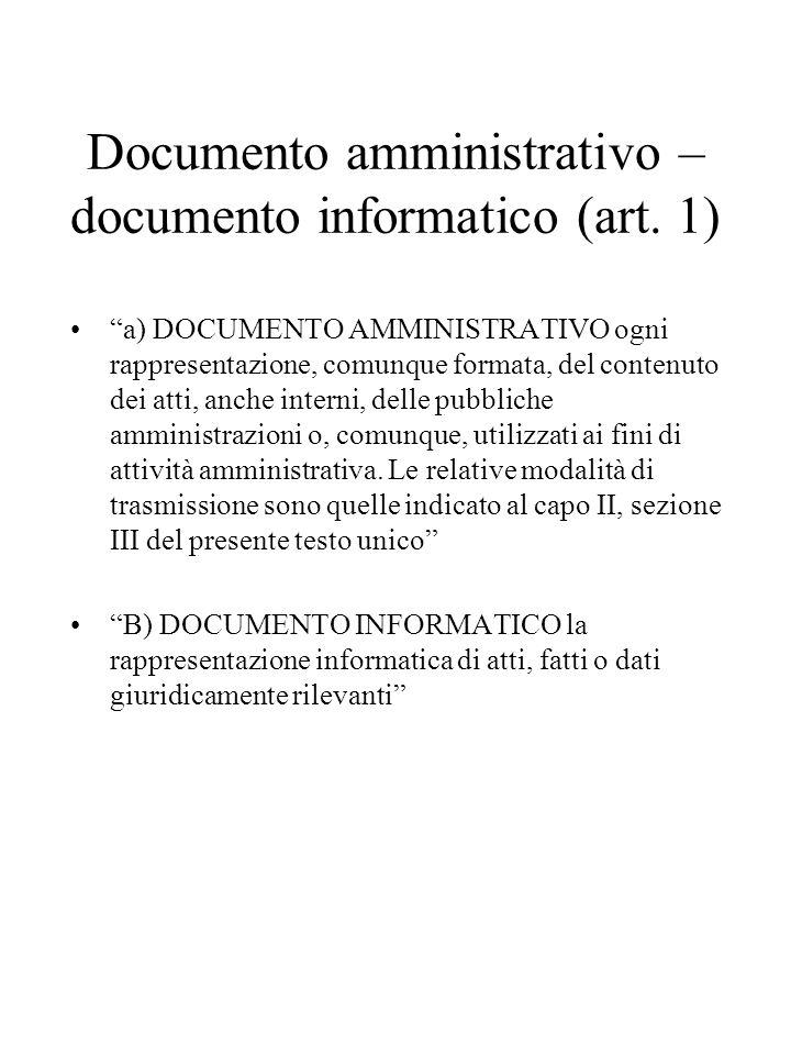 Documento amministrativo – documento informatico (art.