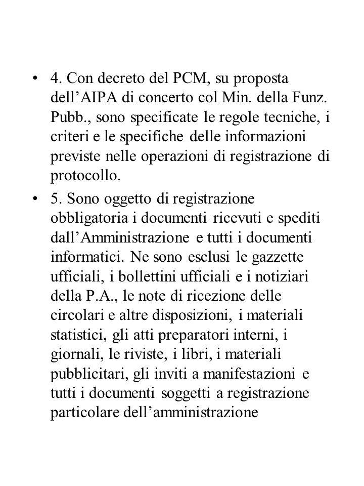 4.Con decreto del PCM, su proposta dell'AIPA di concerto col Min.