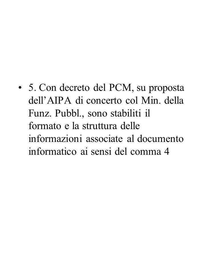 5.Con decreto del PCM, su proposta dell'AIPA di concerto col Min.