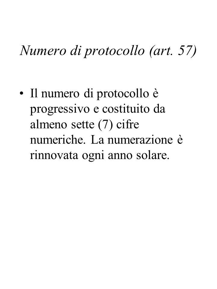 Numero di protocollo (art.