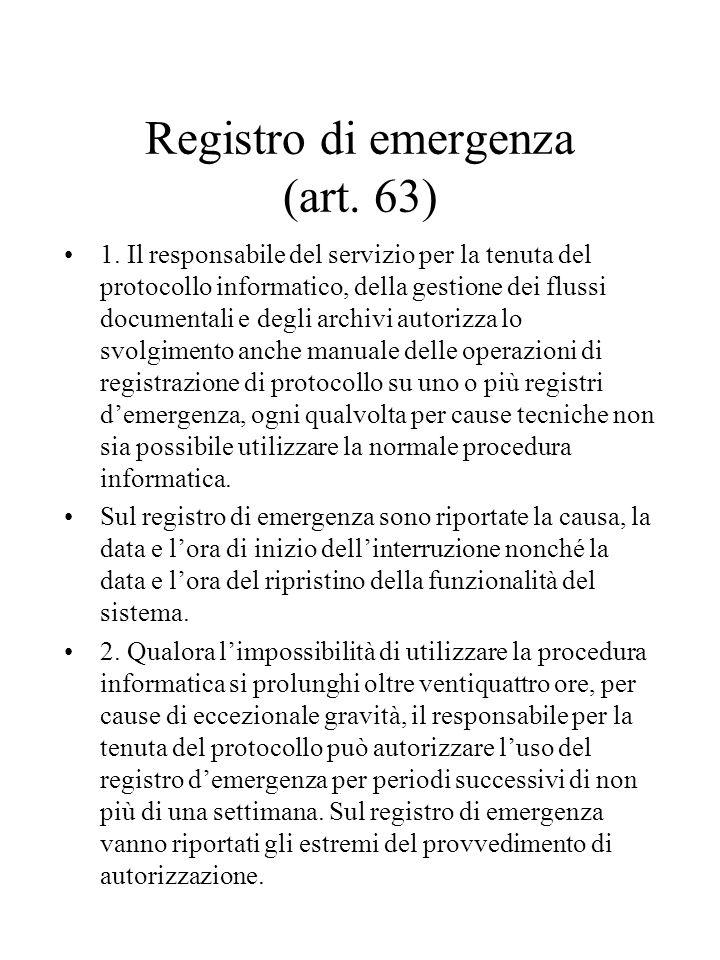 Registro di emergenza (art.63) 1.