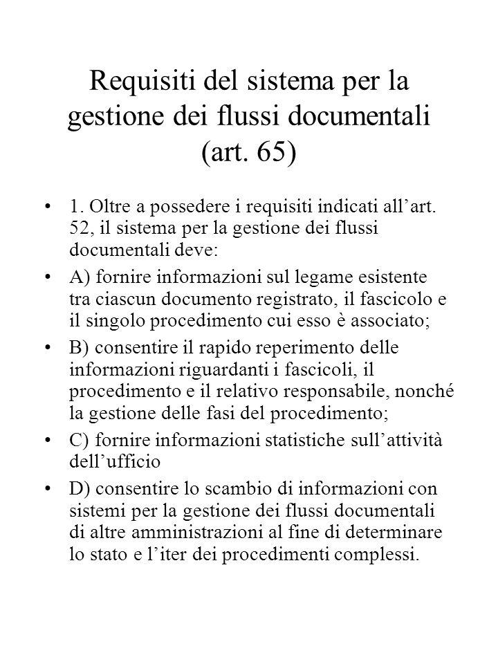 Requisiti del sistema per la gestione dei flussi documentali (art.