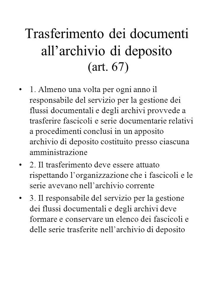 Trasferimento dei documenti all'archivio di deposito (art.