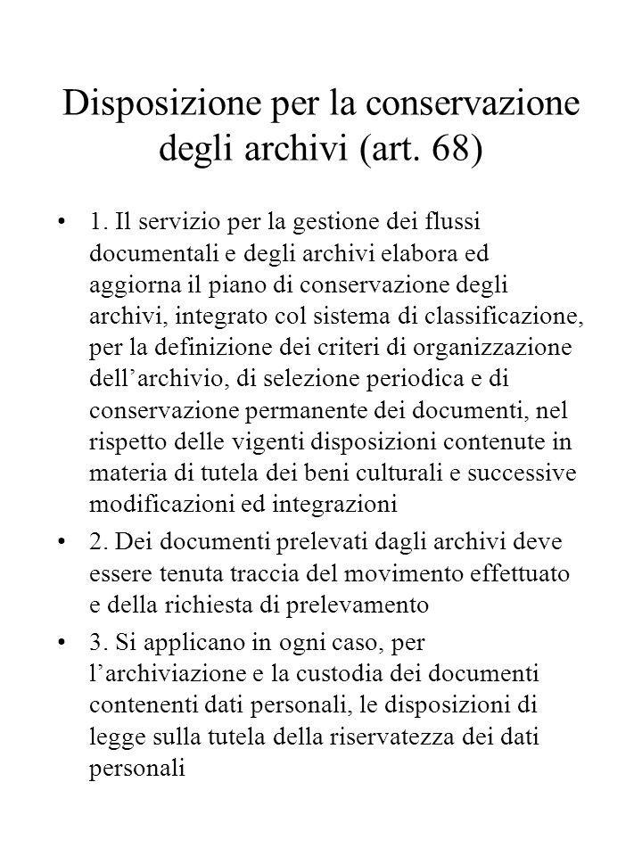 Disposizione per la conservazione degli archivi (art.