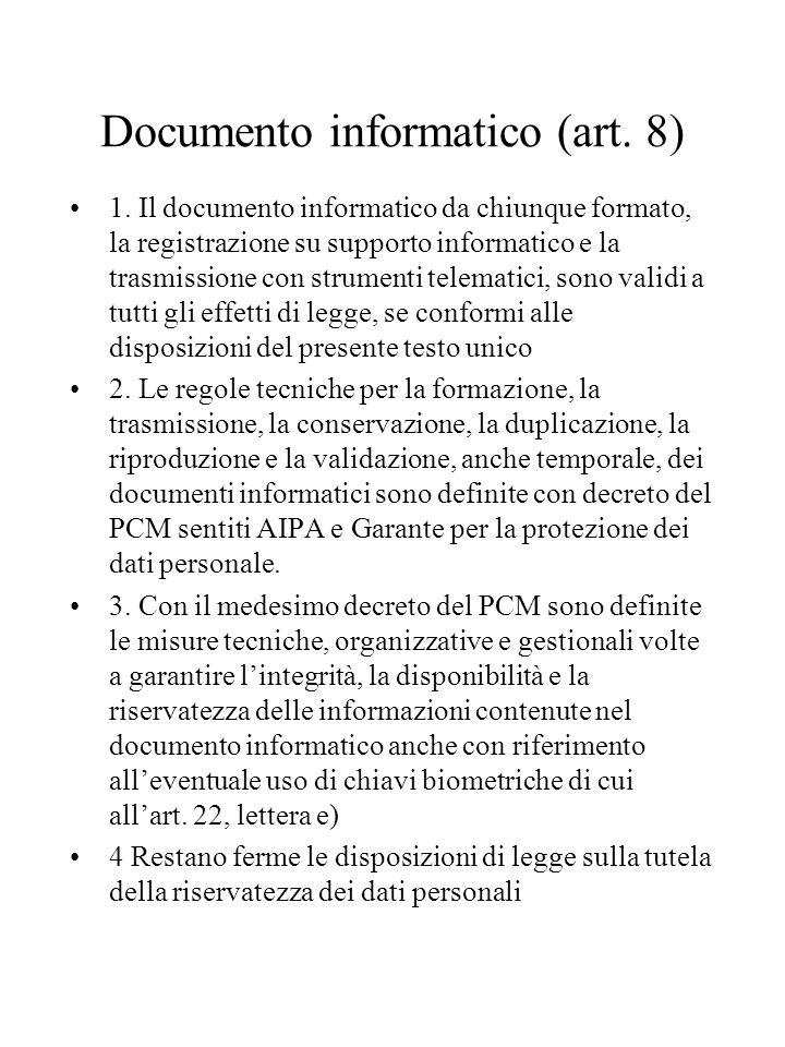 Documento informatico (art.8) 1.
