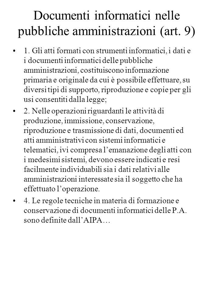 Documenti informatici nelle pubbliche amministrazioni (art.