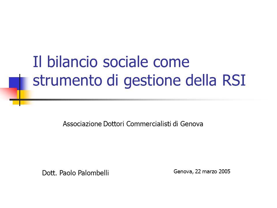 Il bilancio sociale come strumento di gestione della RSI Associazione Dottori Commercialisti di Genova Dott.
