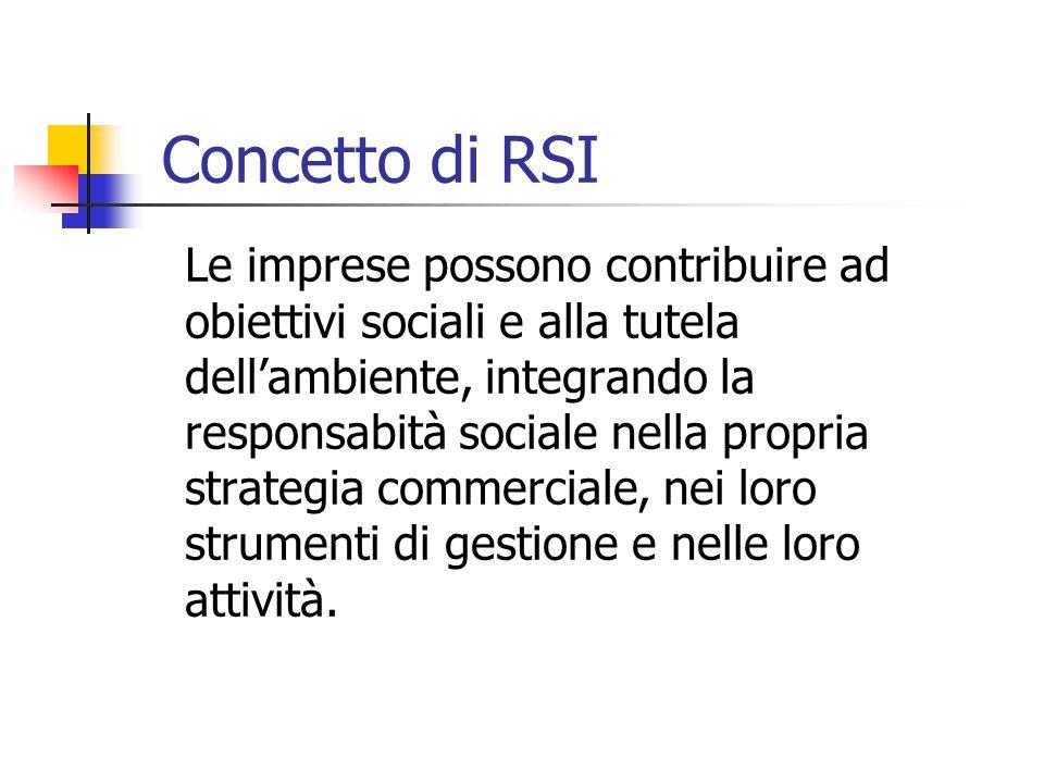 Concetto di RSI Le imprese possono contribuire ad obiettivi sociali e alla tutela dell'ambiente, integrando la responsabità sociale nella propria strategia commerciale, nei loro strumenti di gestione e nelle loro attività.