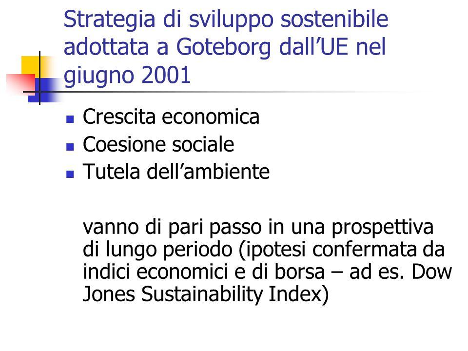 Strategia di sviluppo sostenibile adottata a Goteborg dall'UE nel giugno 2001 Crescita economica Coesione sociale Tutela dell'ambiente vanno di pari passo in una prospettiva di lungo periodo (ipotesi confermata da indici economici e di borsa – ad es.