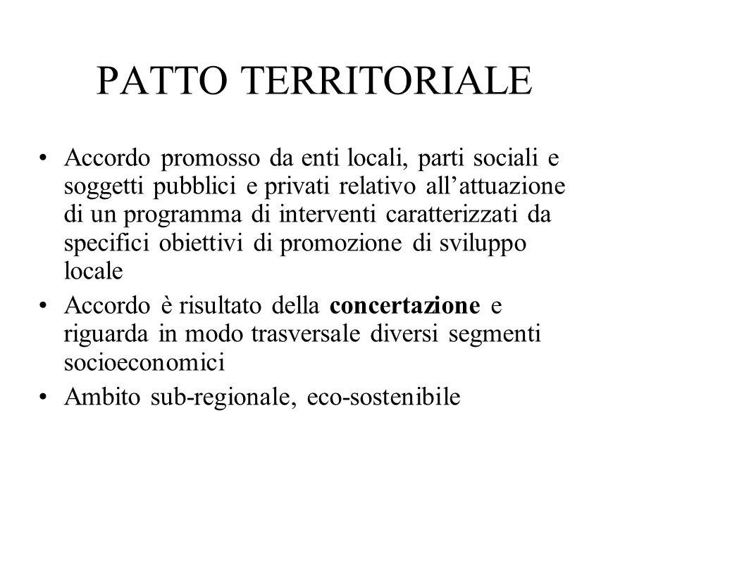 PATTO TERRITORIALE Accordo promosso da enti locali, parti sociali e soggetti pubblici e privati relativo all'attuazione di un programma di interventi