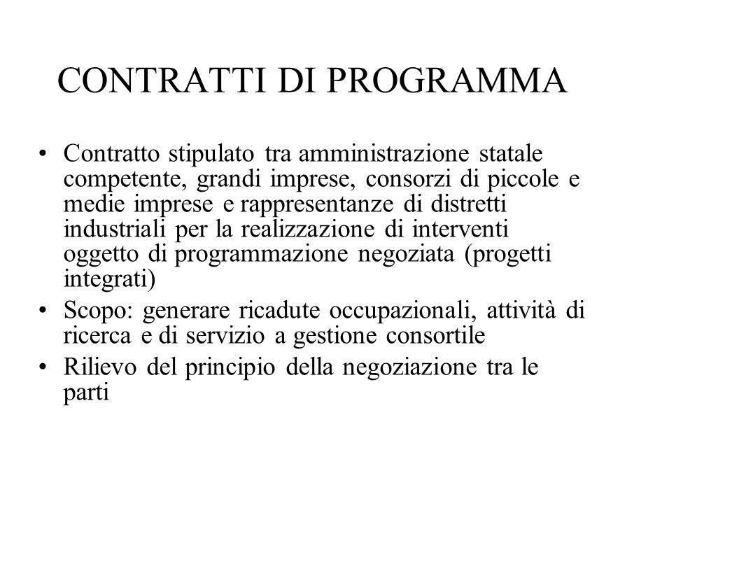 CONTRATTI DI PROGRAMMA Contratto stipulato tra amministrazione statale competente, grandi imprese, consorzi di piccole e medie imprese e rappresentanz