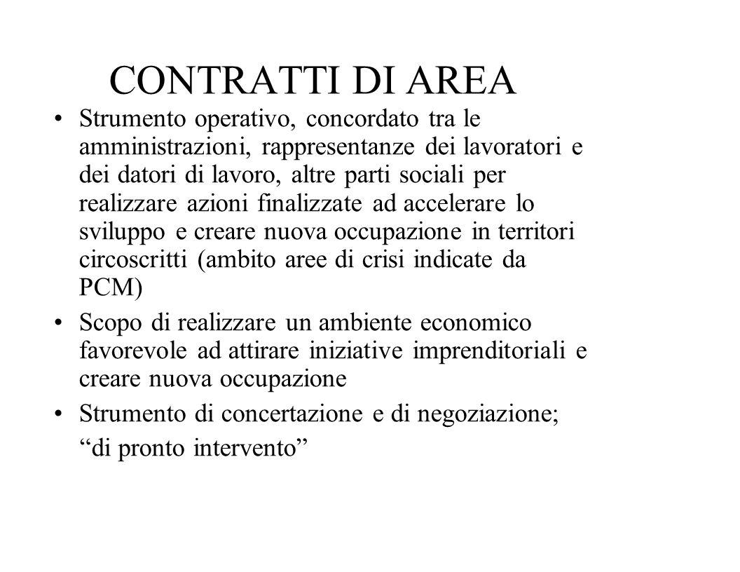CONTRATTI DI AREA Strumento operativo, concordato tra le amministrazioni, rappresentanze dei lavoratori e dei datori di lavoro, altre parti sociali pe