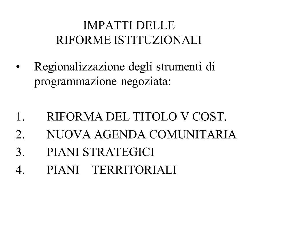 IMPATTI DELLE RIFORME ISTITUZIONALI Regionalizzazione degli strumenti di programmazione negoziata: 1. RIFORMA DEL TITOLO V COST. 2. NUOVA AGENDA COMUN