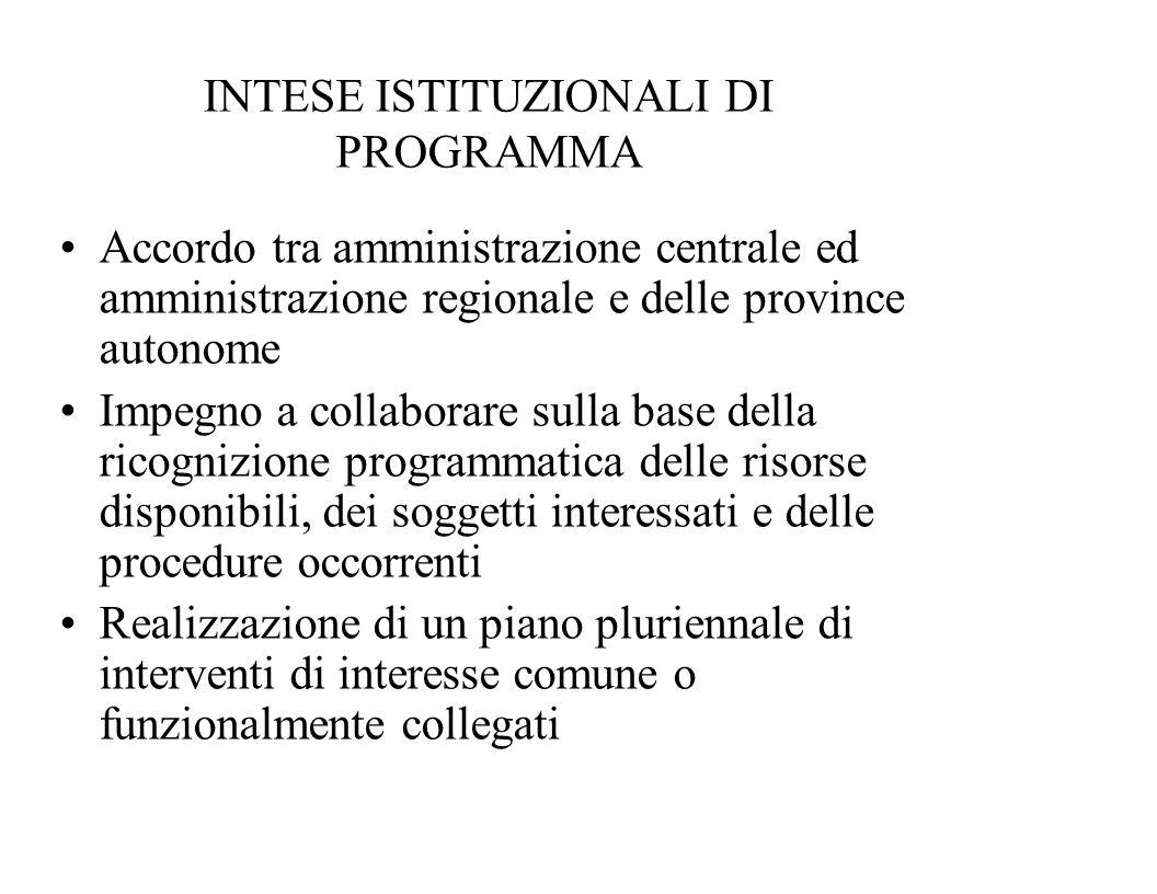 INTESE ISTITUZIONALI DI PROGRAMMA Accordo tra amministrazione centrale ed amministrazione regionale e delle province autonome Impegno a collaborare su