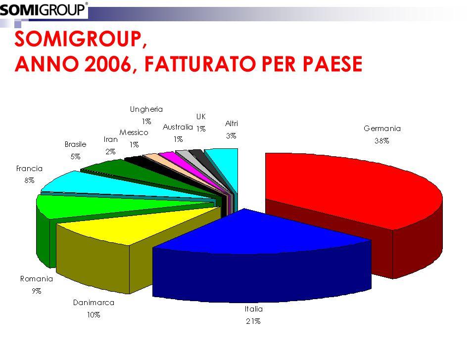 SOMIGROUP, ANNO 2006, FATTURATO PER PAESE