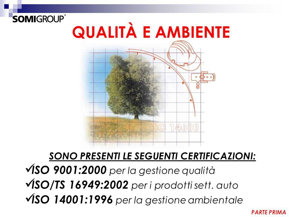 QUALITÀ E AMBIENTE SONO PRESENTI LE SEGUENTI CERTIFICAZIONI: ISO 9001:2000 per la gestione qualità ISO/TS 16949:2002 per i prodotti sett.