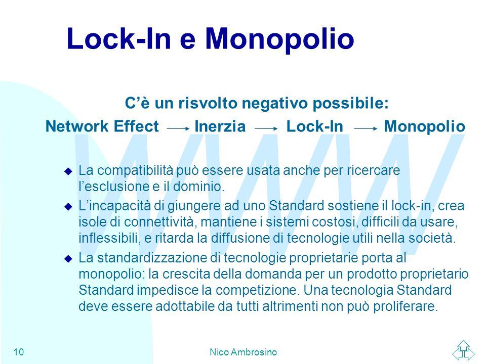 WWW Nico Ambrosino10 Lock-In e Monopolio C'è un risvolto negativo possibile: Network Effect Inerzia Lock-In Monopolio u La compatibilità può essere usata anche per ricercare l'esclusione e il dominio.