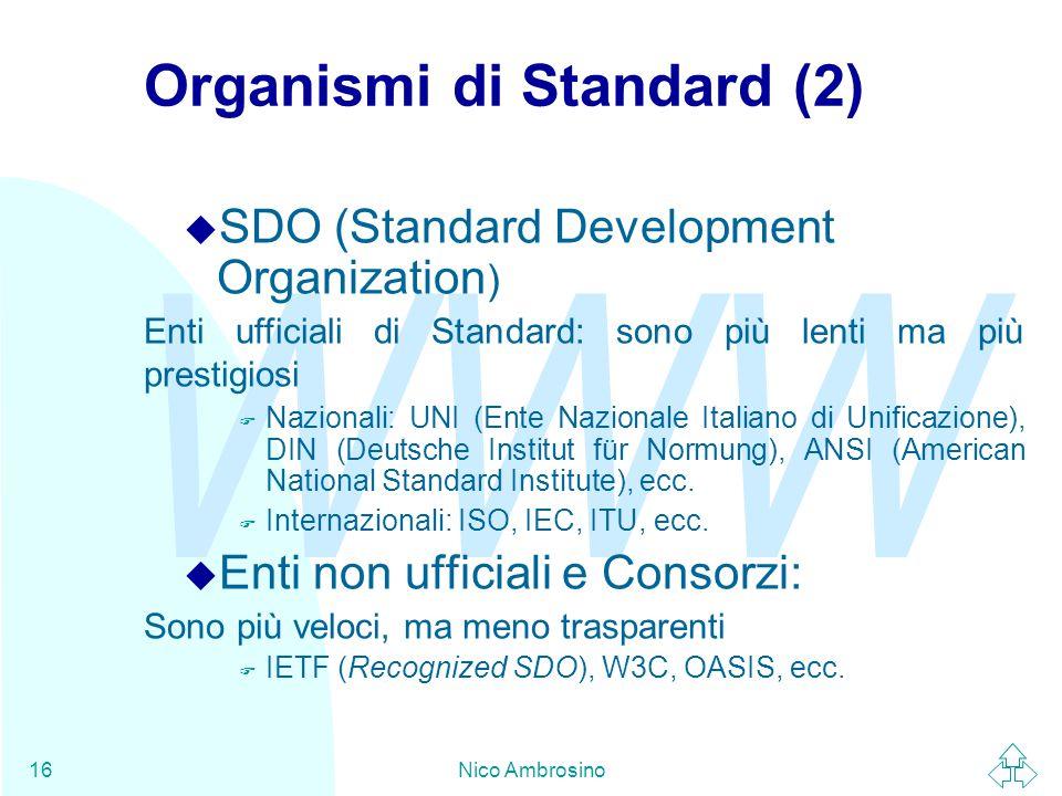 WWW Nico Ambrosino16 Organismi di Standard (2) u SDO (Standard Development Organization ) Enti ufficiali di Standard: sono più lenti ma più prestigiosi F Nazionali: UNI (Ente Nazionale Italiano di Unificazione), DIN (Deutsche Institut für Normung), ANSI (American National Standard Institute), ecc.