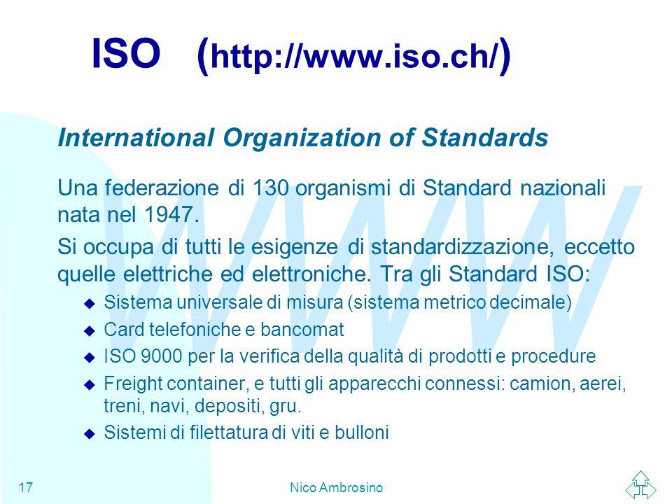 WWW Nico Ambrosino17 ISO ( http://www.iso.ch/ ) International Organization of Standards Una federazione di 130 organismi di Standard nazionali nata nel 1947.