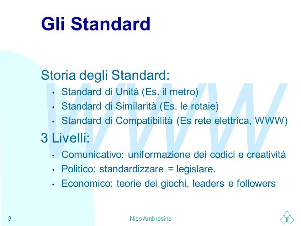 WWW Nico Ambrosino24 IETF - Organizzazione (2) L'IETF è organizzato in 8 aree tecniche, ciascuna diretta da un direttore di area (AD).