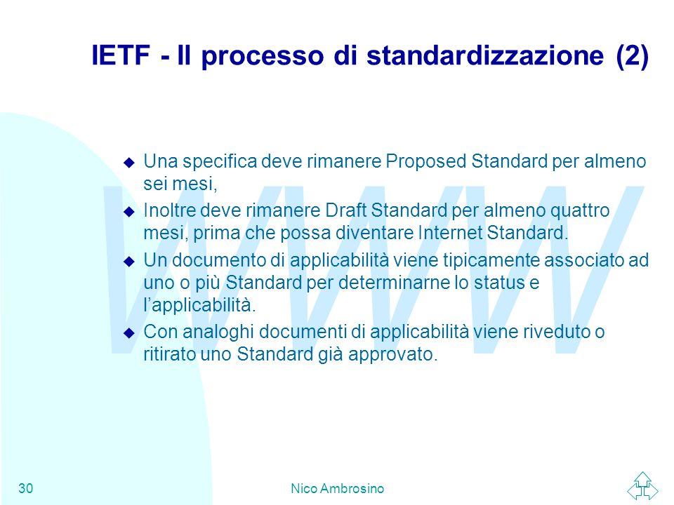 WWW Nico Ambrosino30 IETF - Il processo di standardizzazione (2) u Una specifica deve rimanere Proposed Standard per almeno sei mesi, u Inoltre deve rimanere Draft Standard per almeno quattro mesi, prima che possa diventare Internet Standard.