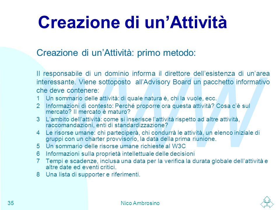 WWW Nico Ambrosino35 Creazione di un'Attività Creazione di un'Attività: primo metodo: Il responsabile di un dominio informa il direttore dell'esistenza di un'area interessante.