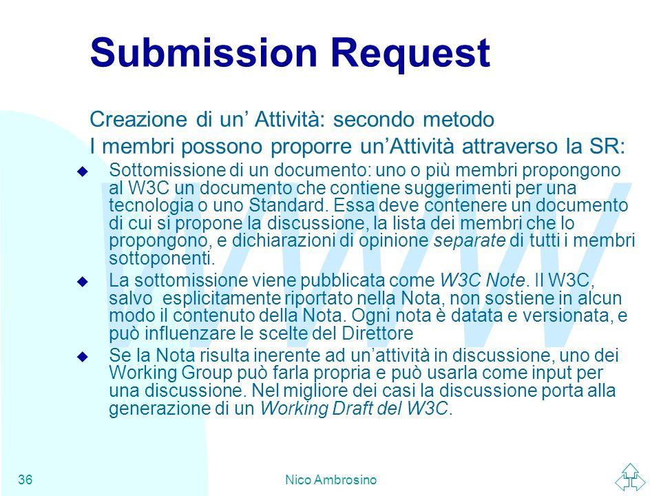 WWW Nico Ambrosino36 Submission Request Creazione di un' Attività: secondo metodo I membri possono proporre un'Attività attraverso la SR: u Sottomissione di un documento: uno o più membri propongono al W3C un documento che contiene suggerimenti per una tecnologia o uno Standard.