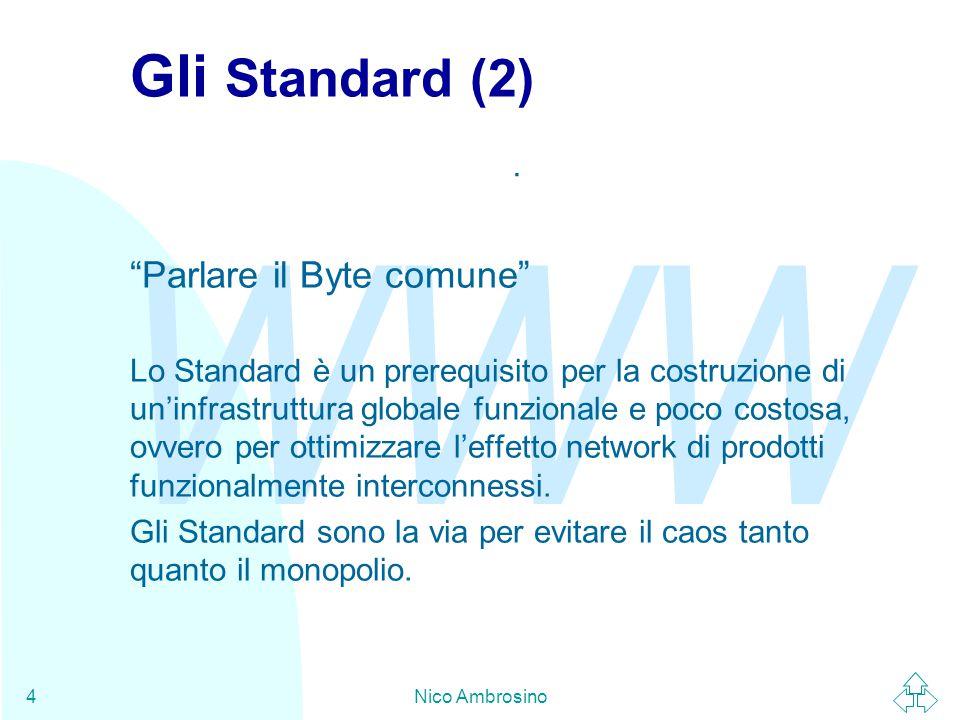 WWW Nico Ambrosino4 Gli Standard (2) Parlare il Byte comune Lo Standard è un prerequisito per la costruzione di un'infrastruttura globale funzionale e poco costosa, ovvero per ottimizzare l'effetto network di prodotti funzionalmente interconnessi.