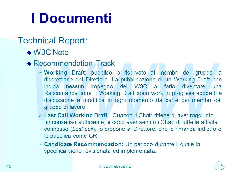 WWW Nico Ambrosino40 I Documenti Technical Report: u W3C Note u Recommendation Track F Working Draft: pubblico o riservato ai membri del gruppo, a discrezione del Direttore.