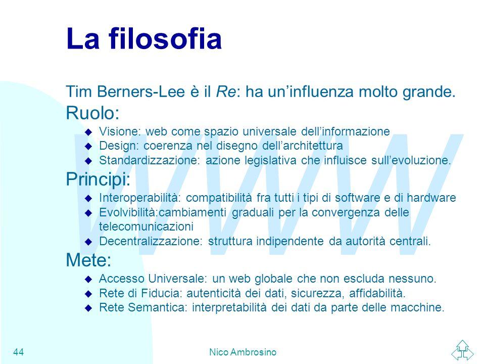 WWW Nico Ambrosino44 La filosofia Tim Berners-Lee è il Re: ha un'influenza molto grande.