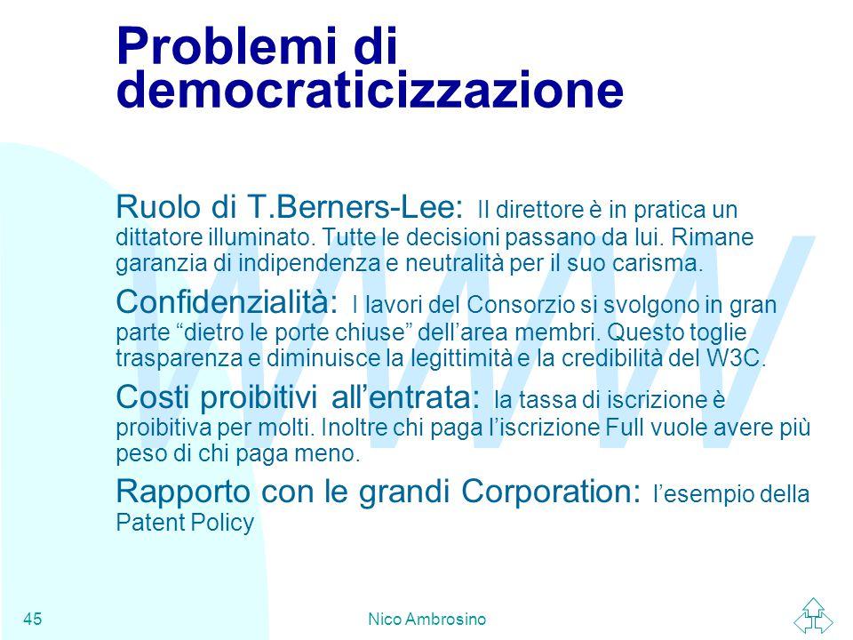 WWW Nico Ambrosino45 Problemi di democraticizzazione Ruolo di T.Berners-Lee: Il direttore è in pratica un dittatore illuminato.