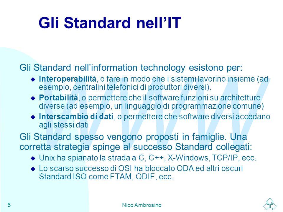 WWW Nico Ambrosino46 Patent Policy I Brevetti sono un problema crescente negli Standard: Le corporation cercano di ottenere vantaggi economici dalla definizione di standard basati sulle proprie tecnologie brevettate: esempio: GIF della UniSys.