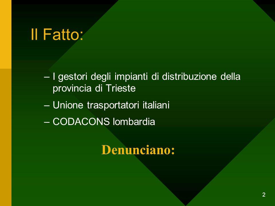 2 Il Fatto: –I gestori degli impianti di distribuzione della provincia di Trieste –Unione trasportatori italiani –CODACONS lombardia Denunciano: