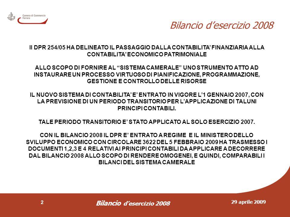 29 aprile 2009 Bilancio d'esercizio 2008 3